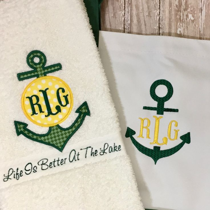 Monogrammed hand towel and tote