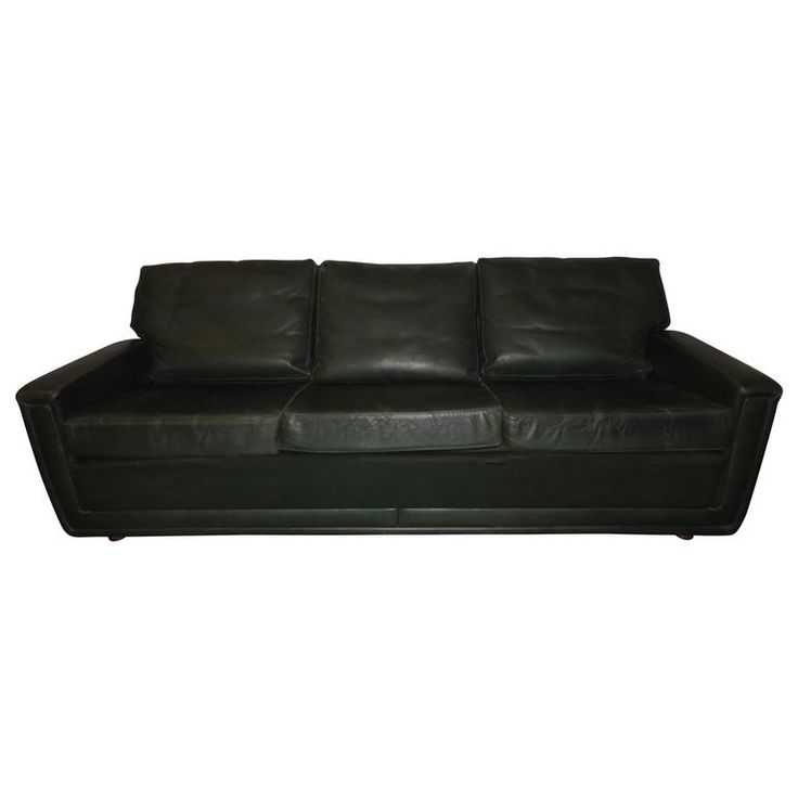 Danish Green Leather Three-Seat Sofa Mid-Century | 1stdibs.com