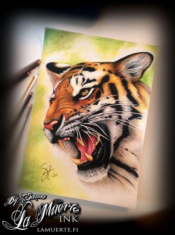 Tiger potrait by Sanna Angervaniva @ La Muerte Ink