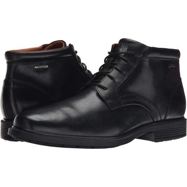 Rockport Dressports Luxe Waterproof Chukka (Black) Men's Lace-up Boots ($85) ❤ liked on Polyvore featuring men's fashion, men's shoes, men's boots, black, mens black chukka boots, mens boots, mens black leather boots, mens waterproof leather boots and men's slip resistant shoes