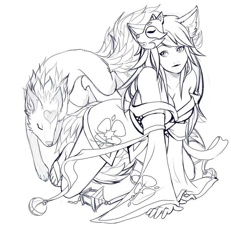 kitsune lineart google search spectrum noiradult coloringcoloring books drawingscoloringdrawing