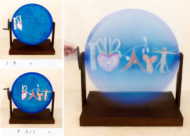 "Saatchi Online Artist: Hitomi Kammai; Decoupage, 2012, Assemblage / Collage ""I Love Art Thaumatrope 2"""