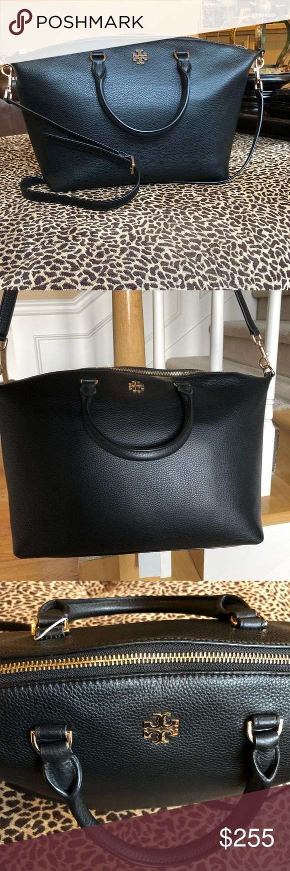 """🆕🖤TORY BURCH SATCHEL🖤 A gilded logo medallion adds signature polish to a clean-lined satchel crafted in rich pebbled leather and topped with smart rolled handles. The top handles can be folded down and out of the way when you carry the piece crossbody style.   •top zip closure •top carry handles; optional adjustable crossbody strap •interior zip and wall pockets •logo jacquard lining •12""""W x 10""""H x 5""""D •22"""" max crossbody strap drop  ABSOLUTELY GORGEOUS!!!  NO TRADES NO LOW BALL OFFERS…"""