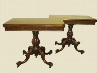 Antique Pair Of Victorian Mahogany Card Tables