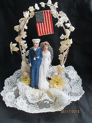 Vintage Wedding Cake Topper Sailor  Navy Military Bride and Groom