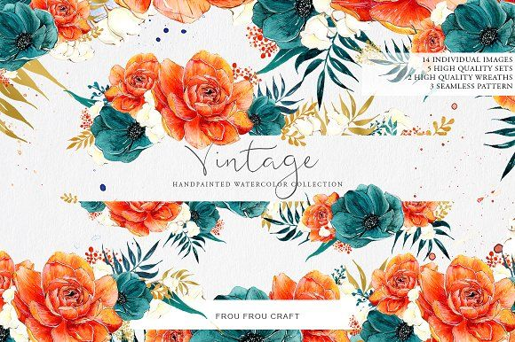 Burnt Orange & Navy Blue Vintage by Frou Fou Craft on @creativemarket