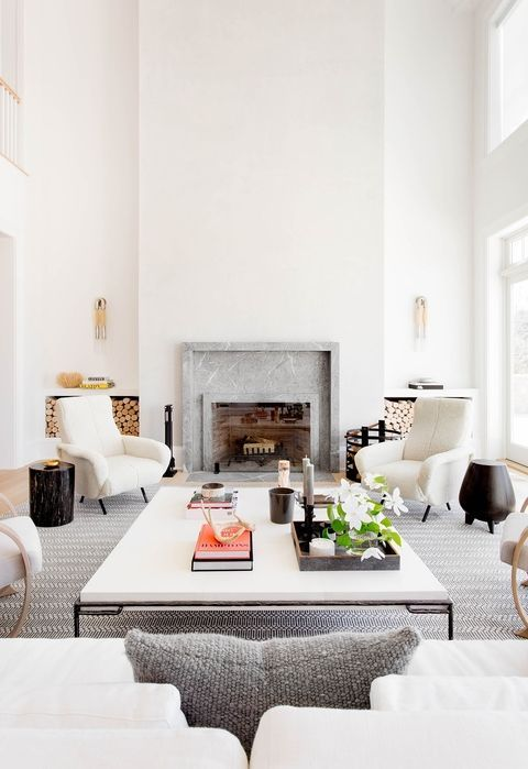 Slab fireplace surround | minimalist house in Hamptons