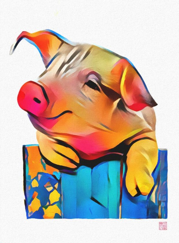 Pig - wrapped canvas art Art by Roger Smith. On Premium Wrapped Canvas (Gloss) https://www.zazzle.com/pig_wrapped_canvas_art-192805003829300990 #pigs #art #print