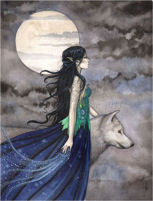 "Witch with Wolf Gothic Fantasy Fine Art Print by Molly Harrison ""Night of the Wolf"" 5 x 7"