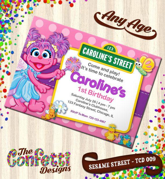 Abby Invitations, Abby sesame street Birthday, Birthday Invitation, Abby Birthday Invitation, sesame street invite, Party Invites TCD-009