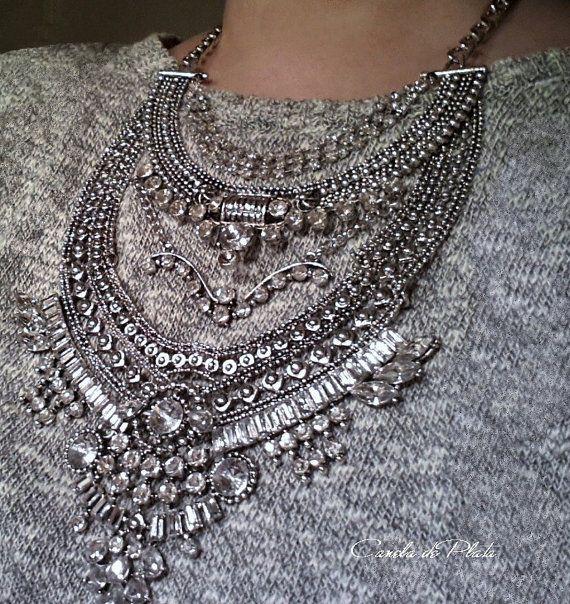 Collar plata antigua múltiples capas. Collar por CaneladePlata