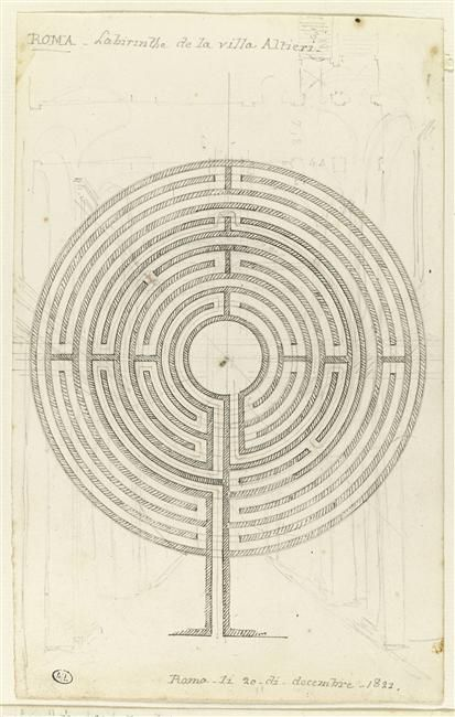 "desimonewayland: "" Rome: The labyrinth of the Villa Altieri, drawn by Prosper Barbot in 1822. Paris, musée du Louvre, D.A.G. Some interesting history here -..."