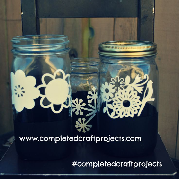 Upcycled Shabby Chic Chalkboard Dipped Mason Jars. For Custom Orders and Check out or other Creations at  http://www.facebook.com/completedcraftprojects  #completedcraftprojects #ShabbyChic #Chalkboard #MasonJar #Upcycled