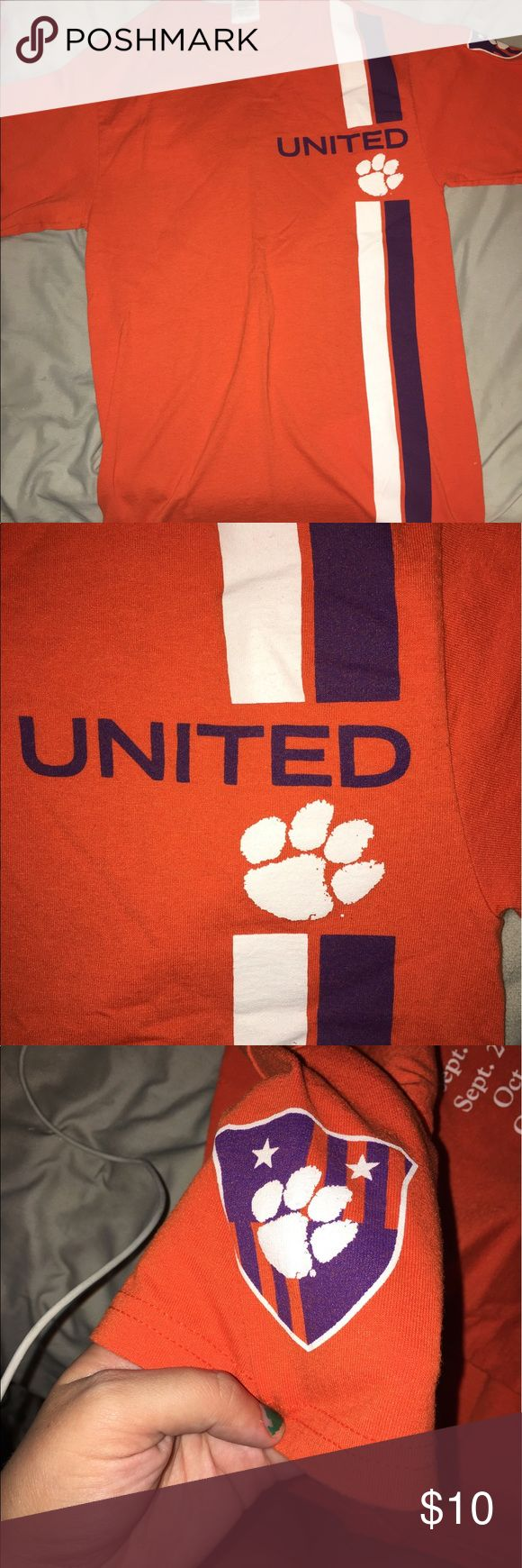 Clemson Soccer Shirt Clemson United Men's 2013 Soccer Team with schedule on back. Short sleeves. Great condition. No trades. Make me a reasonable offer! Jerzees Shirts Tees - Short Sleeve