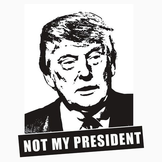 TRUMP, NOT MY PRESIDENT. THIS DESIGN AVAILABLE ON UNISEX T-SHIRT, STICKER, MUG, PHONE CASE, AND 20 OTHER PRODUCTS. CHECK THEM OUT.