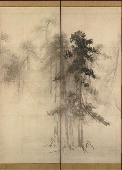 """Detail. Pine Trees"""" by Hasegawa Tōhaku (Japanese, 1539–1610). The painting has been designated as National Treasure in the paintings category.16th century. Right screen of a pair of six-folded screens; ink on paper."""