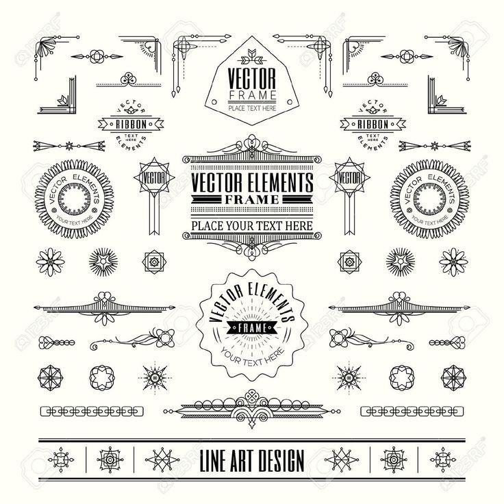 Set Van Lineaire Dunne Lijn Art Deco Retro Vintage Design Elementen Met Frame Hoek Badge In Geometrische Vorm Royalty Vrije Cliparts, Vectoren, En Stock Illustratie. Image 39094545.