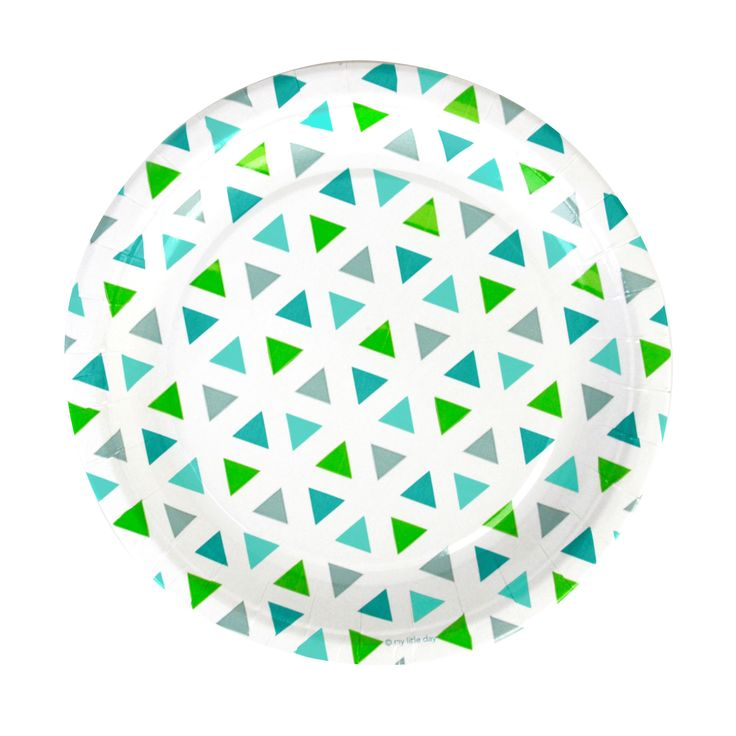GREEN TRIANGLES PAPER PLATES