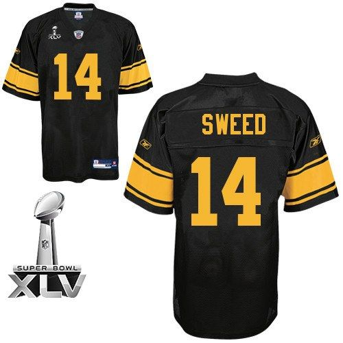 Reebok Pittsburgh Steelers Limas Sweed Black 14 Authentic Jerseys Sale