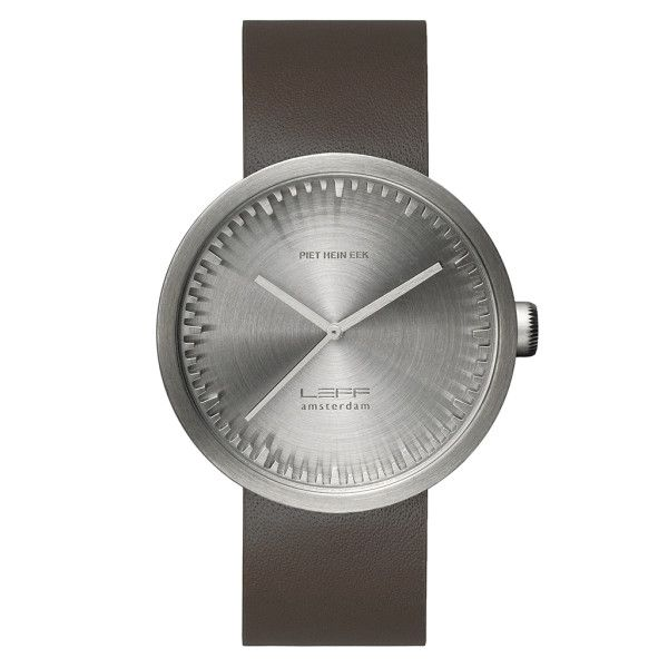 LEFF Amsterdam tube watch D42 with brown leather strap steel finish