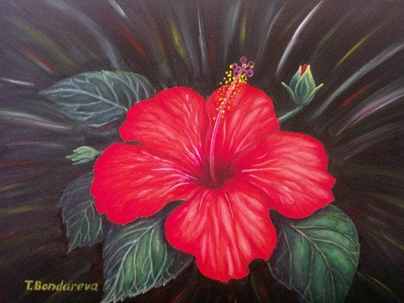 "Original oil painting ""Hibiscus"" by Tatyana Bondareva"