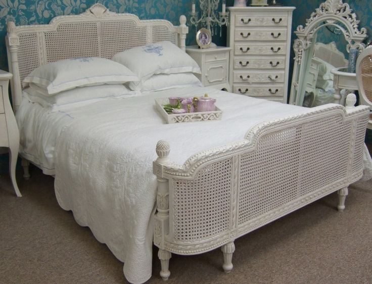 French Country Rattan Bed ,Slightly Distressed White