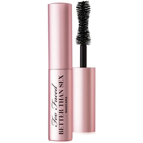 Too Faced Better Than Sex Mini Mascara (£9.81) ❤ liked on Polyvore featuring beauty products, makeup, eye makeup, mascara, beauty, eyes, cosmetics, fillers, backgrounds and black