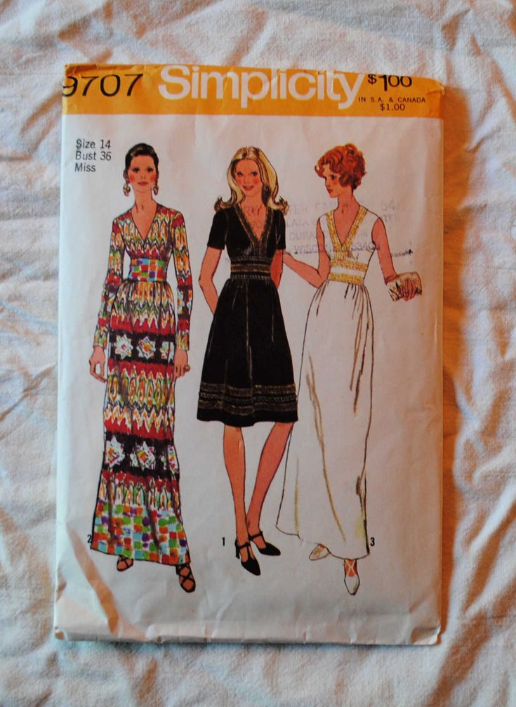 Size 14, Vintage 1970s, Simplicity 9707 Sewing Patttern, Misses Cocktail Dress, Evening Gown, Deep V, Bust 36″