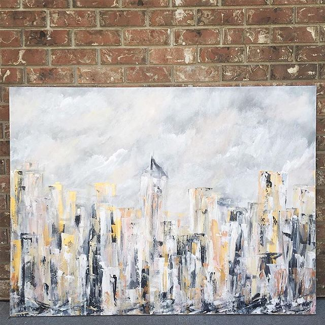 JILL PADDOCK: 2015 | Influenced by natural and urban environments, Paddock's acrylic and mixed media work is colourful and impassioned. This piece was inspired by New York City.  #studiowlife #studiowinspired #originalart