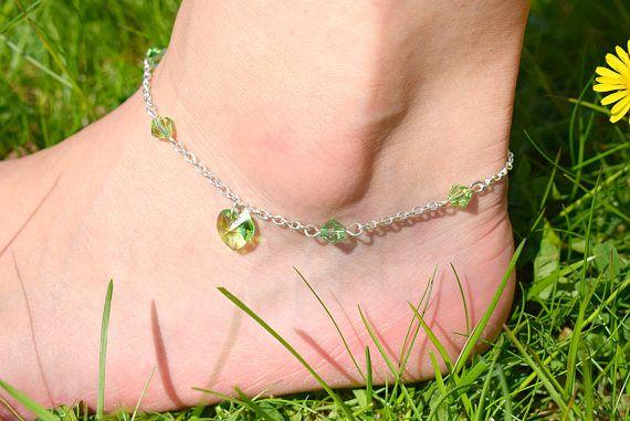 Pale Green Heart Anklet  Swarovski Crystal Heart Ankle