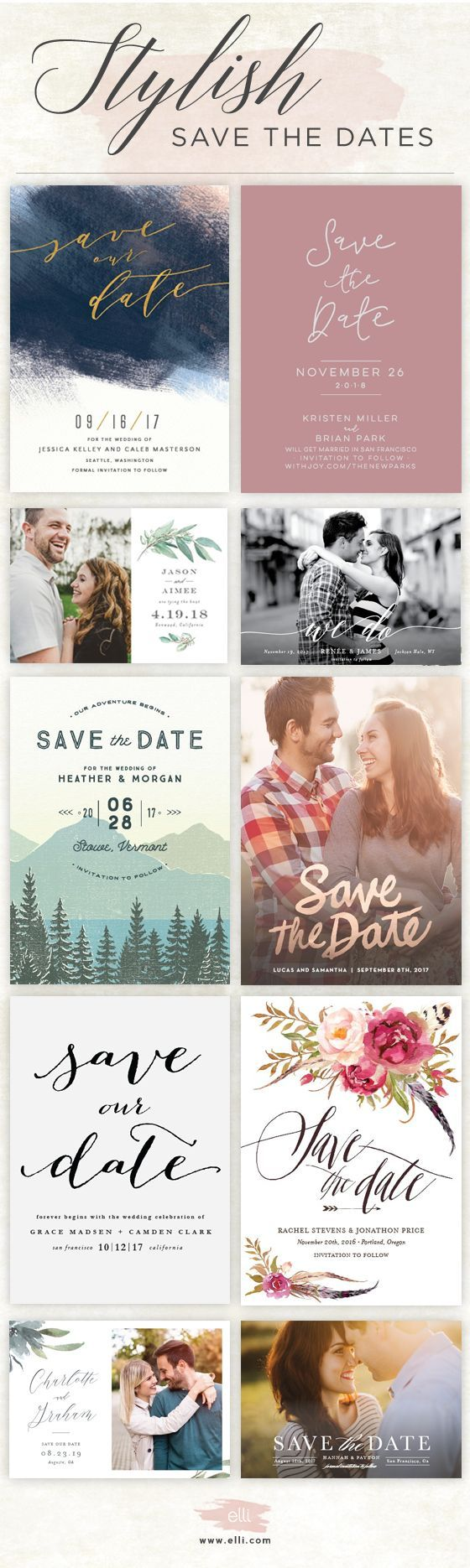 Find stylish save the dates and customize
