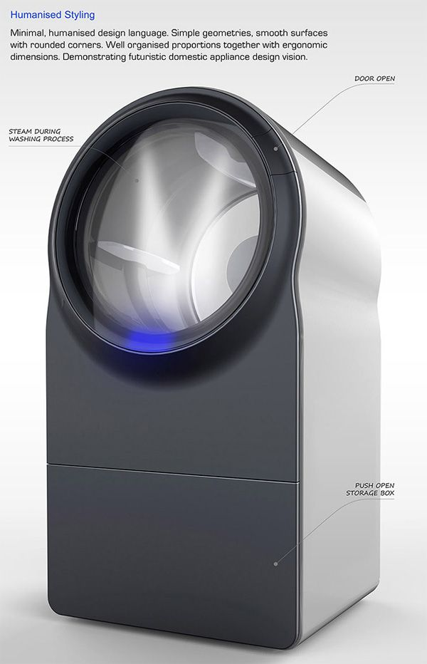 Innova Steam Washer Dryer by Rinaldo Filinesi - Innova is a conceptual steam washer-dryer design. Different from conventional washing machines, this concept uses only steam for cleaning operation. | Yanko Design #gadgets