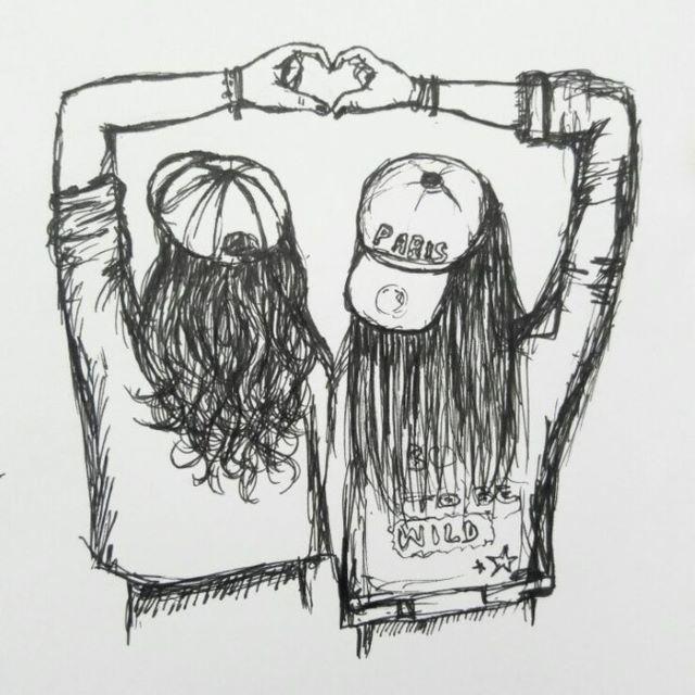 Charming Coloriage De Meilleure Amie Drawings Of Friends Friends Sketch Best Friend Drawings