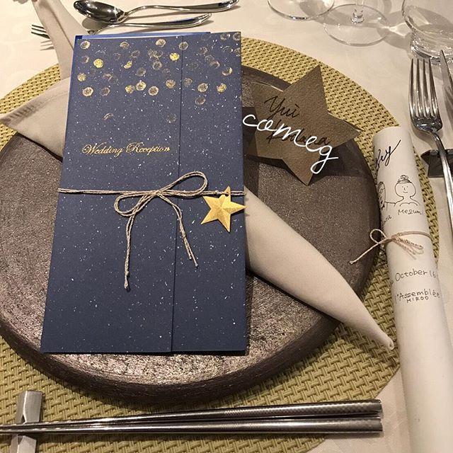ウェディングレポ . . テーブルコーディネートはこんな感じ✨ お友達が受け付けで渡す席次表も入れて撮ってくれました☺️ こうやって並ぶと自分テイストまとめられて良かったな達成感 . . みんな読んでいてくれたみたいで嬉しいです(*´︶`*)❤ . . . #ウェディング #ウェディングドレス #カバードレス #結婚式#プレ花嫁#花嫁DIY #挙式 #結婚準備 #結婚 #marry #ブライダル #手作り #手作りウェディング #wedding #ちーむ1016 #卒花 #お星様 #bride #bridal #ウェディングレポ #手作りプロフィールブック #手作り席次表 #手作り席札 #席札 #くるくる席次表