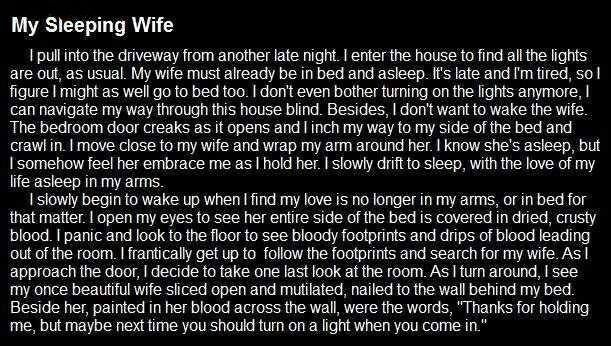 Wife scary creepy story stories