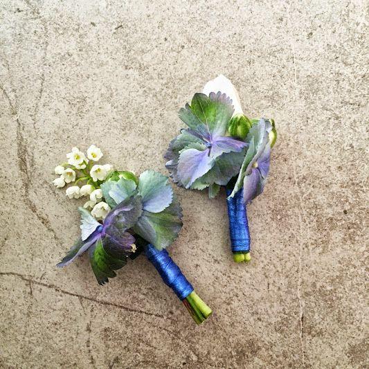 #blue #wedding #buttonhole #hortensia #lilly