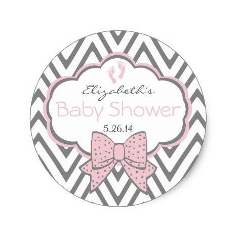 Pink With Grey Chevron Baby Shower Classic Round Sticker #chevron #craft #supplies
