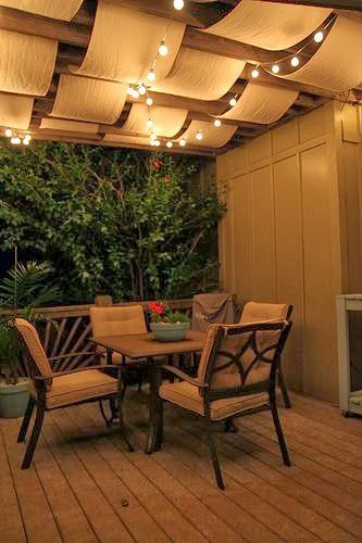 Create flair for your patio canopy with string lights. For year round use, go with commercial grade; for seasonal use, standard grade is sufficient. Shop both options online at http://www.partylights.com/Strings-Bulbs.