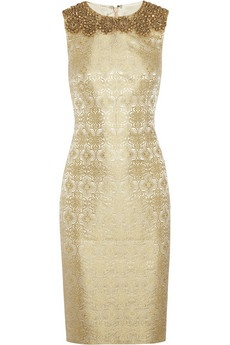 Embellished brocade sheath dress by Vera Wang