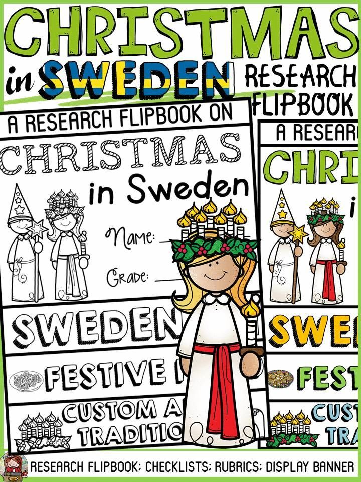 Have your students practice research writing skills by collating and recording information in this flipbook on Christmas in Sweden. The titles, pictures and writing prompts for each section of the flipbook scaffold writing and research. https://www.teacherspayteachers.com/Product/CHRISTMAS-IN-SWEDEN-INFORMATIONAL-REPORT-WRITING-RESEARCH-FLIPBOOK-3525087