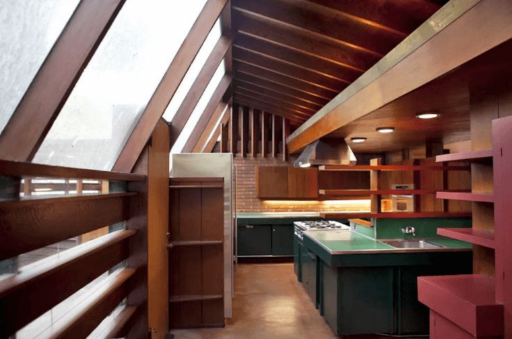 A kitchen in a 1949 house in Los Angeles by architect John Lautner. Photo by Elizabeth Daniels