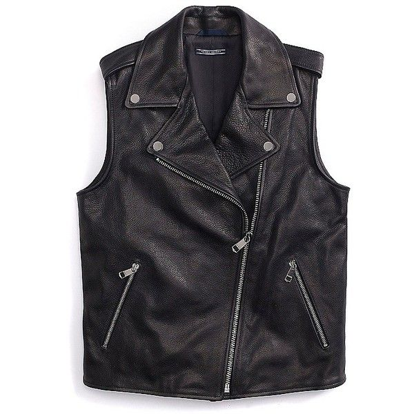 Tommy Hilfiger Leather Biker Vest ($416) ❤ liked on Polyvore featuring outerwear, vests, jackets, tops, leather biker vest, biker jacket, zipper vest, moto jacket and leather moto jacket
