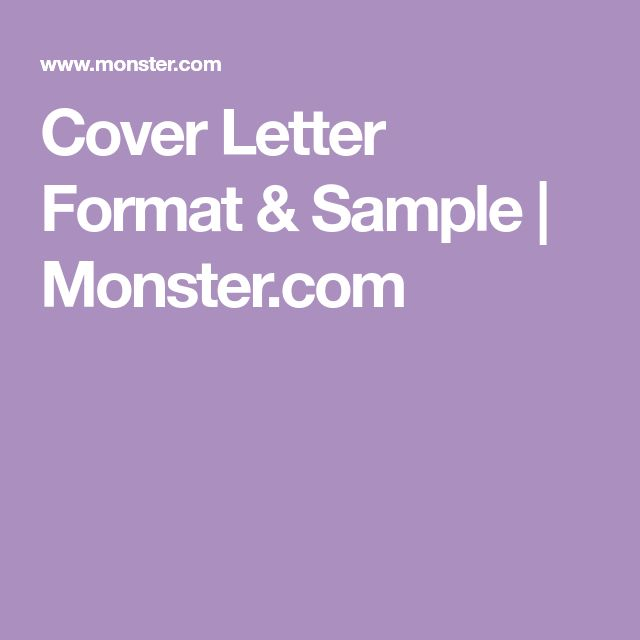 Cover Letter Format & Sample | Monster.com