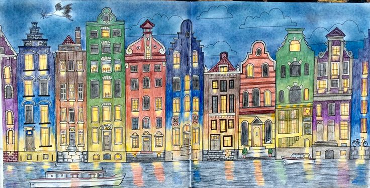 Dream Cities, Splendid Cities by Alice Chadwick. Amsterdam at dusk, coloured by Prue Jack