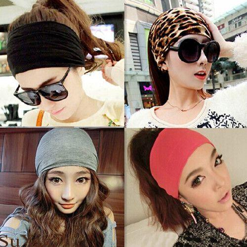 Nieuwe vrouwen haaraccessoires Katoen Elastische Hoofdbanden Brede Tulband Sport Haarbanden