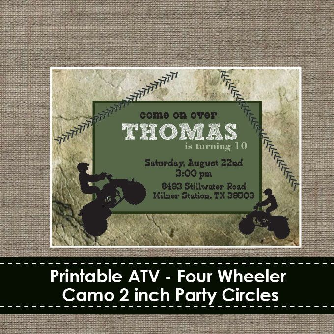 ATV - Four Wheeler Camo Invitation - DIY - Printable by TheStudioBarnShop on Etsy https://www.etsy.com/listing/157413557/atv-four-wheeler-camo-invitation-diy