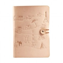 Luxurious A5 travel journal from Corban & Blair with a gorgeous smelling soft natural leather cover, featuring debossed icon designs depicting world journeys.