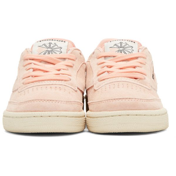 Reebok Classics Pink Club C Pastel Sneakers ($49) ❤ liked on Polyvore featuring shoes, sneakers, round toe sneakers, pink shoes, round cap, low top and pastel sneakers