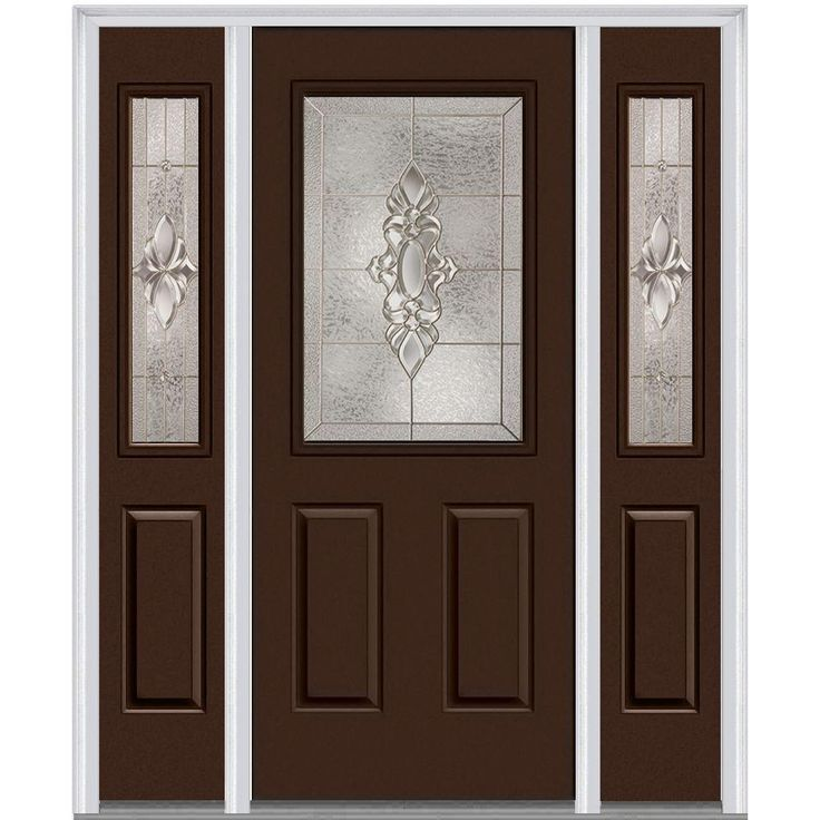 Milliken Millwork 68.5 in. x 81.75 in. Heirloom Master Decorative Glass 1/2 Lite Painted Majestic Steel Exterior Door with Sidelites, Polished Mahogany