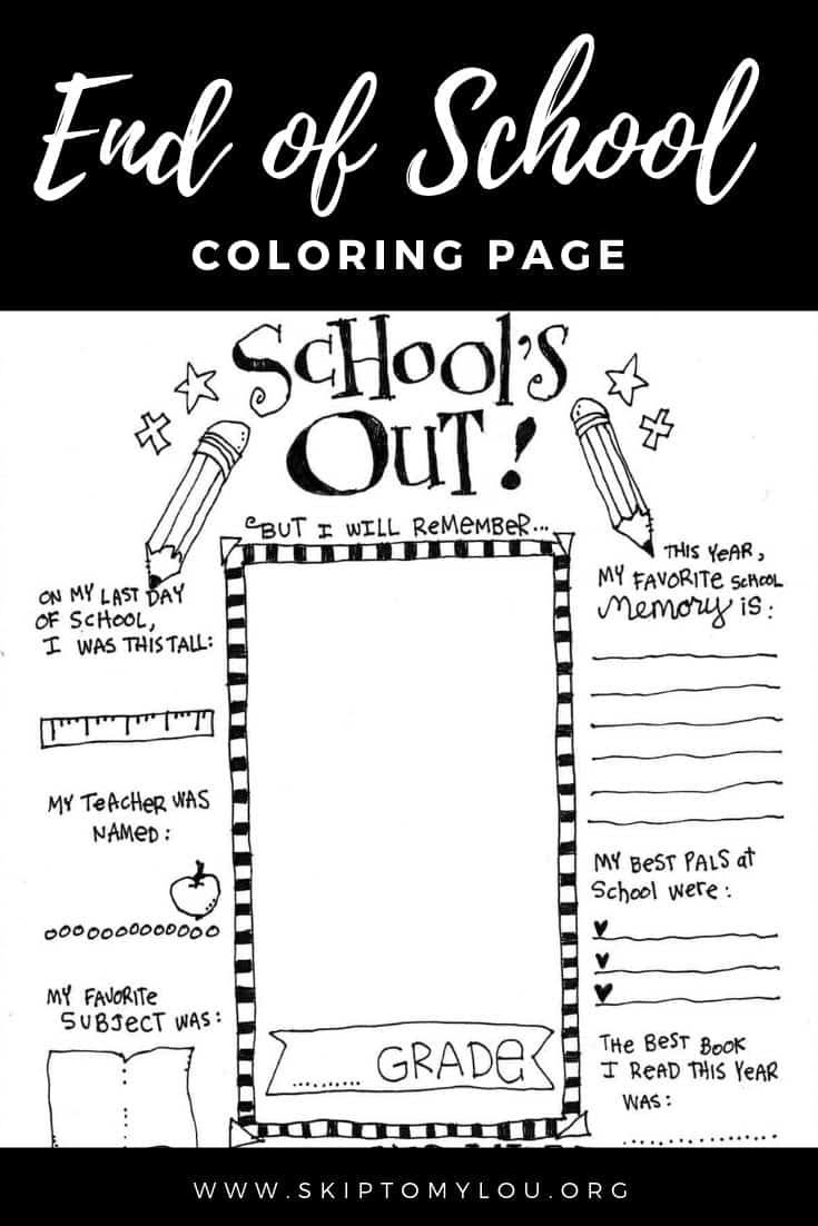 This End Of School Coloring Page Is The Cutest Way To Mark The